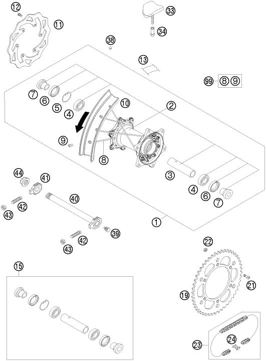 2009 Ktm 300 Exc Rear Wheel Parts Diagram