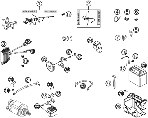 2012 ktm 450 exc wiring harness parts diagram  motorcycles