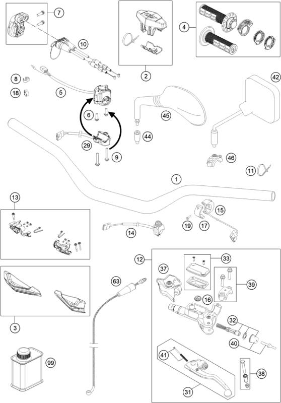 2019 Ktm 300 Exc Tpi  Eu  Handlebar  Controls Parts Diagram